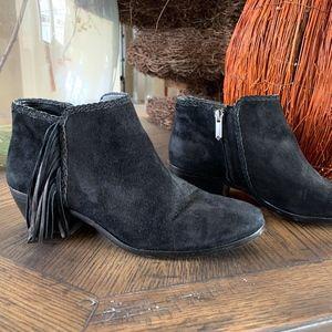 Sam Edelman Black suede fringe booties Size 7